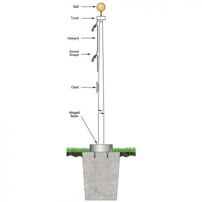 FHB-60 60' White Fiberglass Flagpole External Halyard - Hinged Base-0