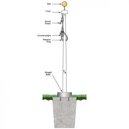 FHBI-25 25' White Fiberglass Flagpole Internal Halyard - Hinged Base-0