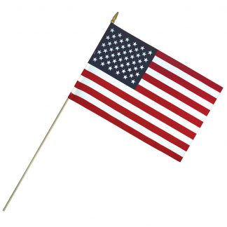 "LC-1218 12"" x 18"" Lightweight Cotton US Stick Flag with Spear Top on a 30"" Dowel-0"