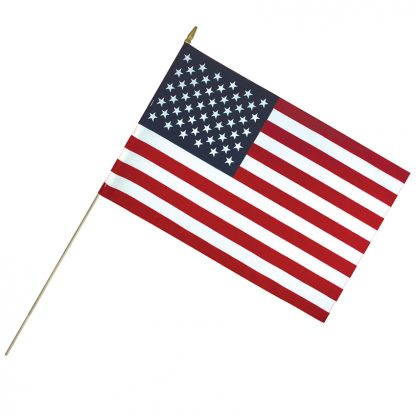 """LC-2436 24"""" x 36"""" Lightweight Cotton US Stick Flag with Spear Top on a 50"""" Dowel-0"""