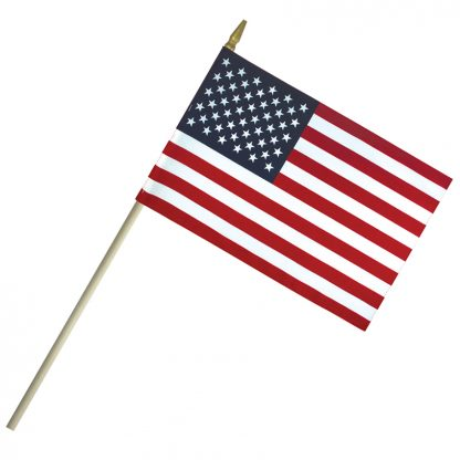 "LC-46 4"" x 6"" Lightweight Cotton US Stick Flag with Spear Top on a 10"" Dowel-0"