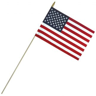 "LC-812 8"" x 12"" Lightweight Cotton US Stick Flag with Spear Top on a 24"" Dowel-0"