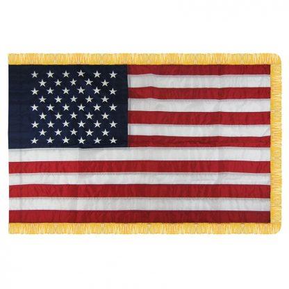 NPF-115 5' X 8' U.S. Indoor Nylon Flag with Pole Hem and Fringe -0