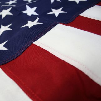PF-145 12' x 18' 2-ply Polyester U.S. Flag with Rope and Thimble-0