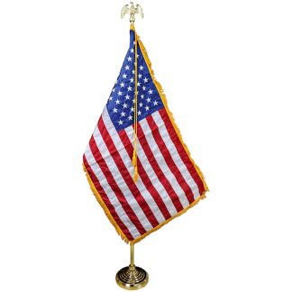 PS-125 5' - 9.5' Gold Adjustable Aluminum Pole With 3' x 5' Flag-0