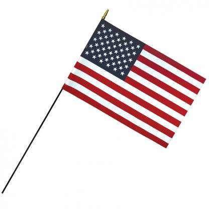 "RSF-1624 16"" x 24"" Deluxe Polyester U.S. Stick Flag On 3/16"" Diameter Black Dowel-0"