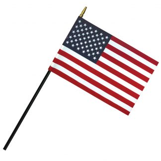 "RSF-46 4"" x 6"" Deluxe Polyester U.S. Stick Flag On 3/16"" Diameter Black Dowel-0"