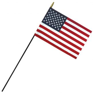 "RSF-812 8"" x 12"" Deluxe Polyester U.S. Stick Flag On 3/16"" Diameter Black Dowel-0"
