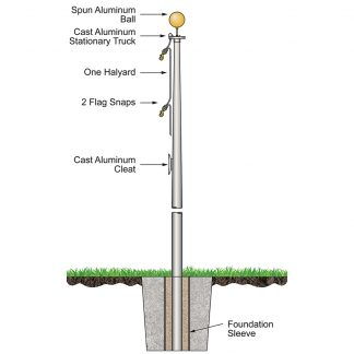 SAFB-25-BRONZE 25' Budget Pole with External Halyard and Bronze Finish-0