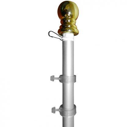 SP-204 5' Silver Aluminum Spinner Pole- Ball Top-0