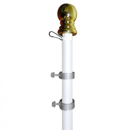 SP-305 6' White Aluminum Spinner Pole- Ball Top -0