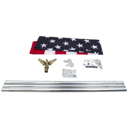 US-198 Silver Promotional Home Set with 3' x 5' Printed US Flag-43096