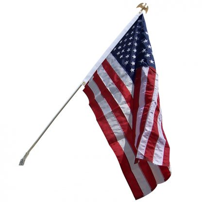 US-200 Silver Home Set With 3' x 5' Embroidered Nylon Flag -0