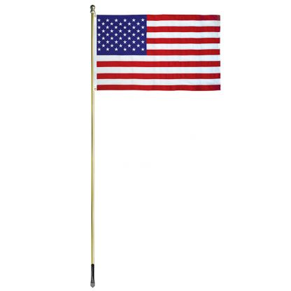 USE-1000-G 10' In-ground Economy Aluminum Display pole with Gold Finish and a 3' x 5' Embroidered U.S. Flag-45362