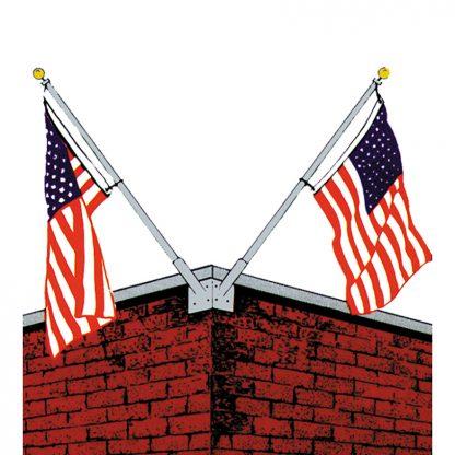 WMD-1000 10' Double Corner Set Wall Mounted Flagpole with Bracket-0