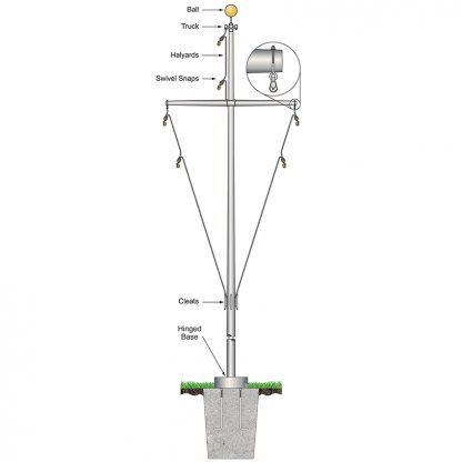 FHBY-50 50' Nautical Flagpole w/ Yardarm Hinged Base White Fiberglass-0