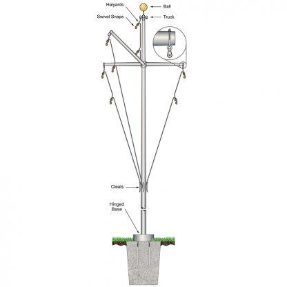 FHBYG-35 35' Nautical Flagpole w/ Yardarm & Gaff-0
