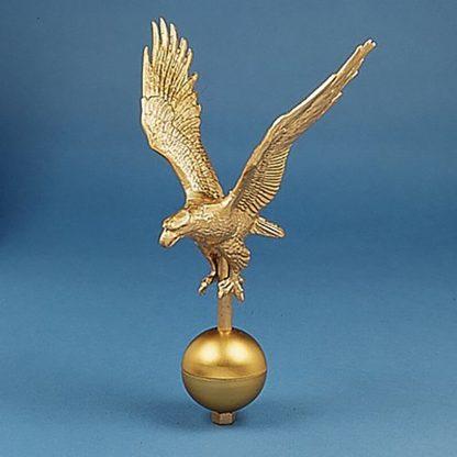 "GAE-115 Gold Alum. Eagle 16"" Wingspan W/ Gold Ball At Base-0"