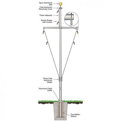 320596 70'H x 77'L Nautical Flagpole Ground Set Aluminum Flagpole Weight 805 lbs.-0