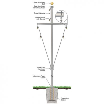 320591 50' Nautical Flagpoles: Ground Set Aluminum-0