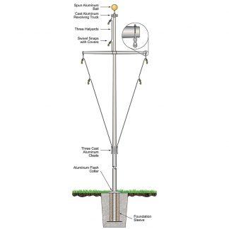 320583 35' Nautical Flagpoles: Ground Set Aluminum-0
