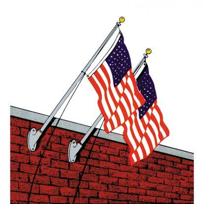 WMO-1000 10' Outrigger Wall Mounted Flagpole Set with Bracket-0