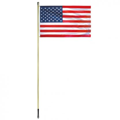 US-1000-G 10' In-ground Economy Aluminum Display Pole with Gold Finish and a 3' x 5' Printed U.S. Flag-45374