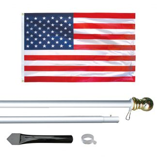 US-800 8' In-ground Economy Aluminum Display Pole with Silver Finish and a 3'x5' Printed U.S. Flag-0