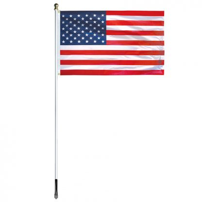 US-800 8' In-ground Economy Aluminum Display Pole with Silver Finish and a 3'x5' Printed U.S. Flag-45370