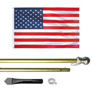 US-800-G 8' In-ground Economy Aluminum Display Pole with Gold Finish and a 3' x 5' Printed U.S. Flag-0