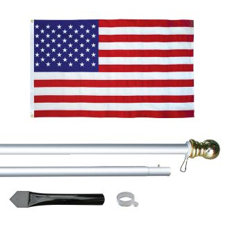 USE-800 8' In-ground Economy Aluminum Display Pole with Silver Finish and a 3' x 5' Embroidered U.S. Flag-0