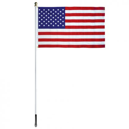 USE-800 8' In-ground Economy Aluminum Display Pole with Silver Finish and a 3' x 5' Embroidered U.S. Flag-45356