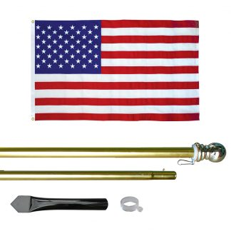 USE-800-G 8' In-ground Economy Aluminum Display Pole with Gold Finish and a 3' x 5' Embroidered U.S. Flag-0