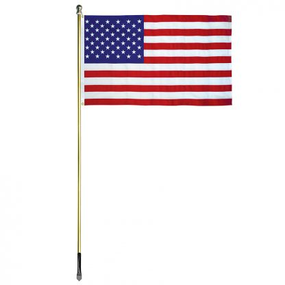 USE-800-G 8' In-ground Economy Aluminum Display Pole with Gold Finish and a 3' x 5' Embroidered U.S. Flag-45358