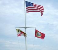 320596 70'H x 77'L Nautical Flagpole Ground Set Aluminum Flagpole Weight 805 lbs.-21930