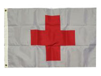 033407 Sewn Nylon American Red Cross 4' x 6' Flag with Heading and Grommets-0