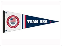 "USOC-TEAMLOGOWPP 12"" x 30"" USOC Team Logo Premium White and Blue Pennant-0"