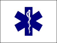 070288 Star Of Life 3' x 5' Outdoor Nylon Flag with Heading and Grommets-0