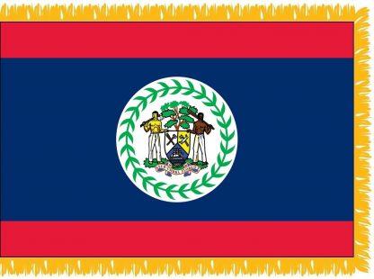 FWI-240-3X5BELIZE Belize 3' x 5' Indoor Flag with Pole Sleeve and Fringe-0