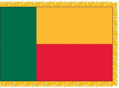 FWI-225-3X5BENIN Benin 3' x 5' Indoor Flag with Pole Sleeve and Fringe-0