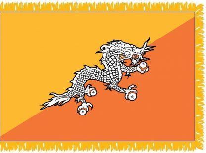 FWI-240-3X5BHUTAN Bhutan 3' x 5' Indoor Flag with Pole Sleeve and Fringe-0