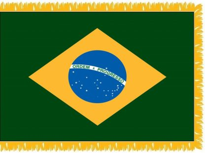 FWI-225-3X5BRAZIL Brazil 3' x 5' Indoor Flag with Pole Sleeve and Fringe-0