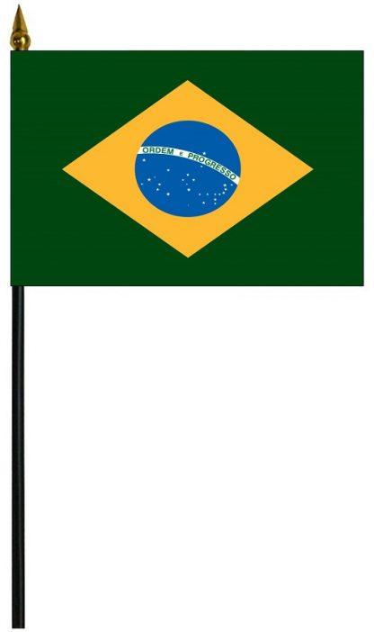 """MRF-46-BRAZIL Brazil 4'' x 6"""" Staff Mounted Rayon-0"""