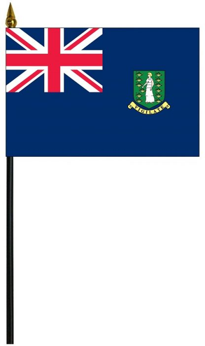 "MRF-46-BRITISHVI British Virgin Islands 4"" x 6"" Staff Mounted Rayon-0"