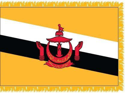 FWI-240-3X5BRUNEI Brunei 3' x 5' Indoor Flag with Pole Sleeve and Fringe-0