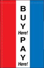 WC-8V-BUYHERE Buy Here Pay Here 2.5' x 5' Windchaser Vertical Message Flag -0