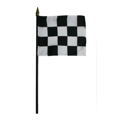"BWS-44 Checkered 4"" x 4"" Staff Mounted Muslin Flag-0"