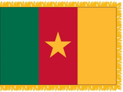 FWI-225-3X5CAMEROON Cameroon 3' x 5' Indoor Flag with Pole Sleeve and Fringe-0