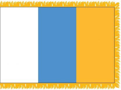 FWI-210-3X5CANARYISL Canary Islands 3' x 5' Indoor Flag with Pole Sleeve and Fringe-0