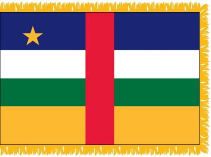 FWI-230-3X5CAR Central African Republic 3' x 5' Indoor Flag with Pole Sleeve and Fringe-0